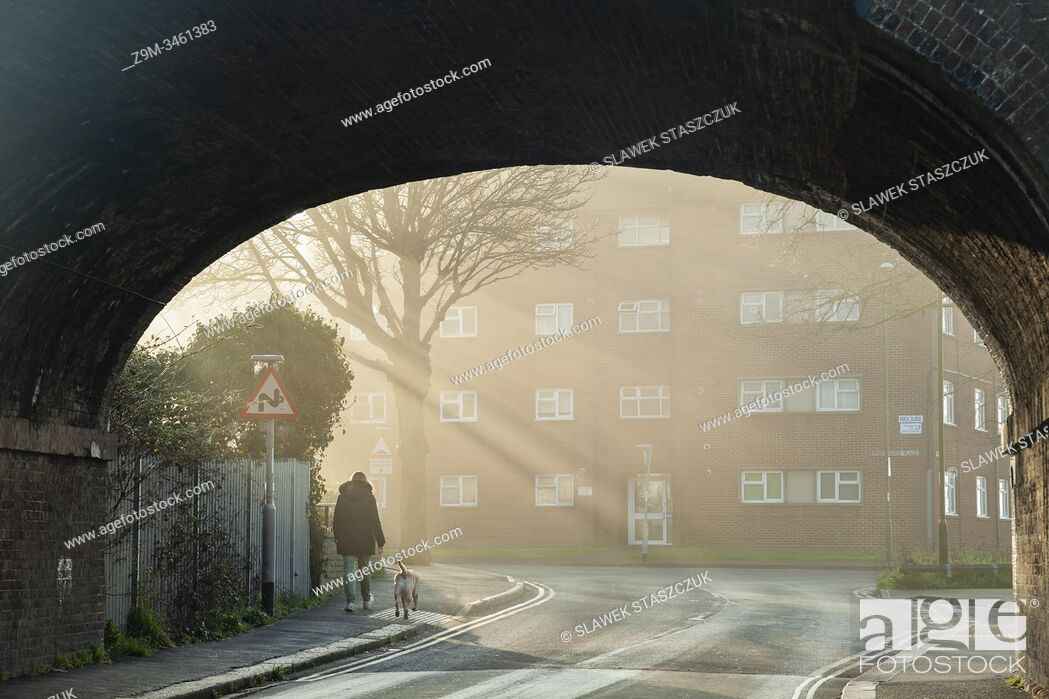 Stock Photo: Misty winter morning in Southwick, West Sussex, England.