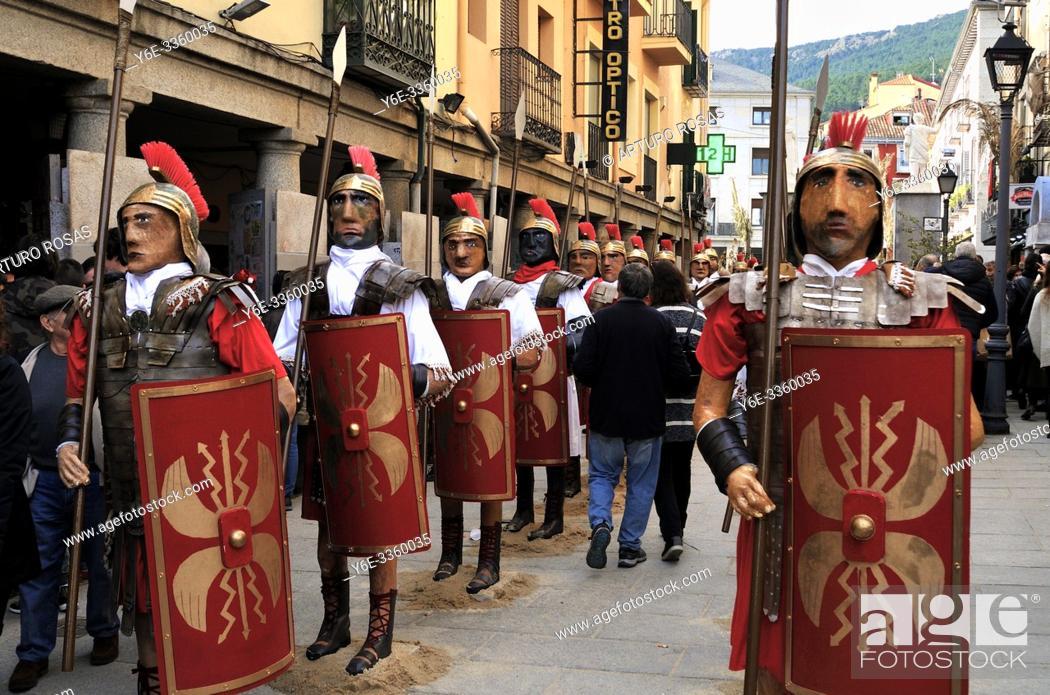 Stock Photo: Full-scale Christmas nativity scene of San Lorenzo de El Escorial. Madrid, Spain.