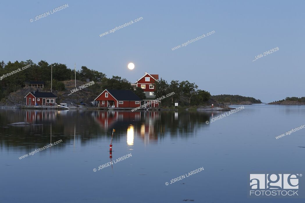 Stock Photo: Moonlight over Navelso, Smaland, Sweden.