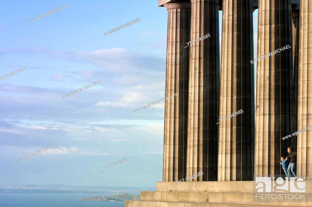 Stock Photo: National Monument on Calton Hill in Edinburgh is memorial to Scots lost in Napoleonic Wars  Scotland  UK.