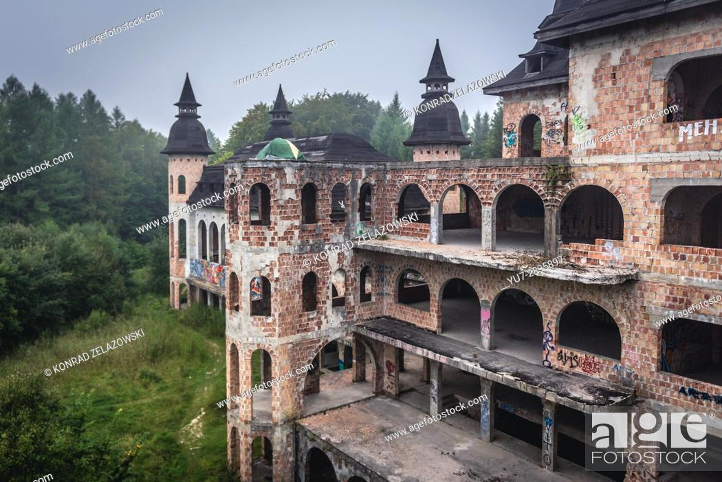 Stock Photo: Unfinished castle - unofficial tourist attraction in Lapalice village, Kashubia region in Poland. Building of castle began in 1979.