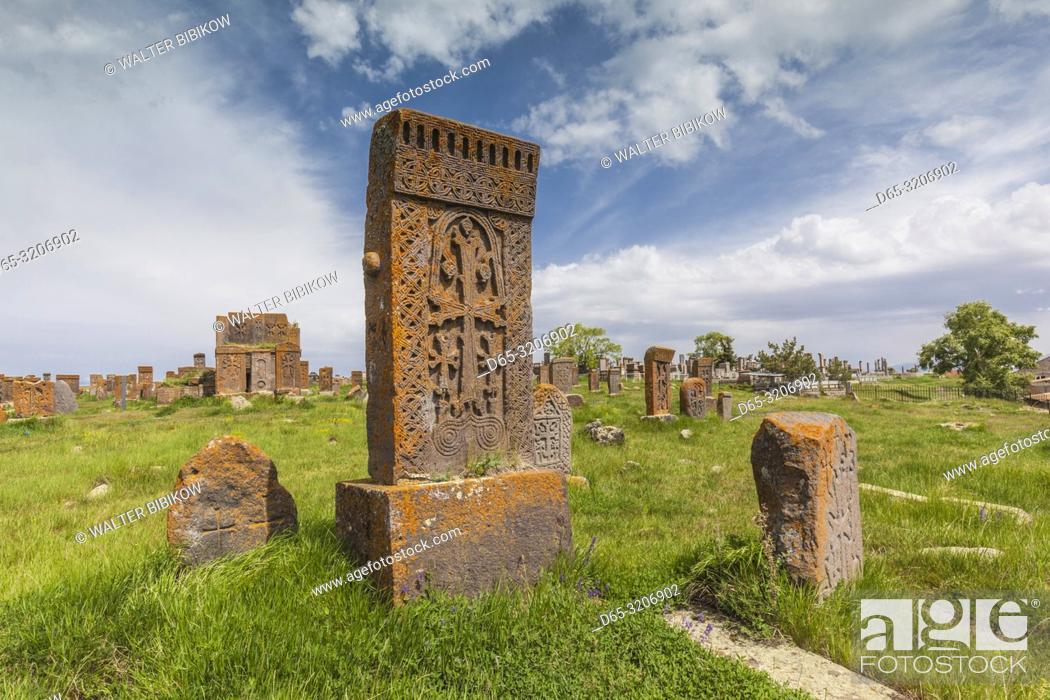 Photo de stock: Armenia, Lake Sevan, Noratus, town cemetery, ancient khachkar monuments.