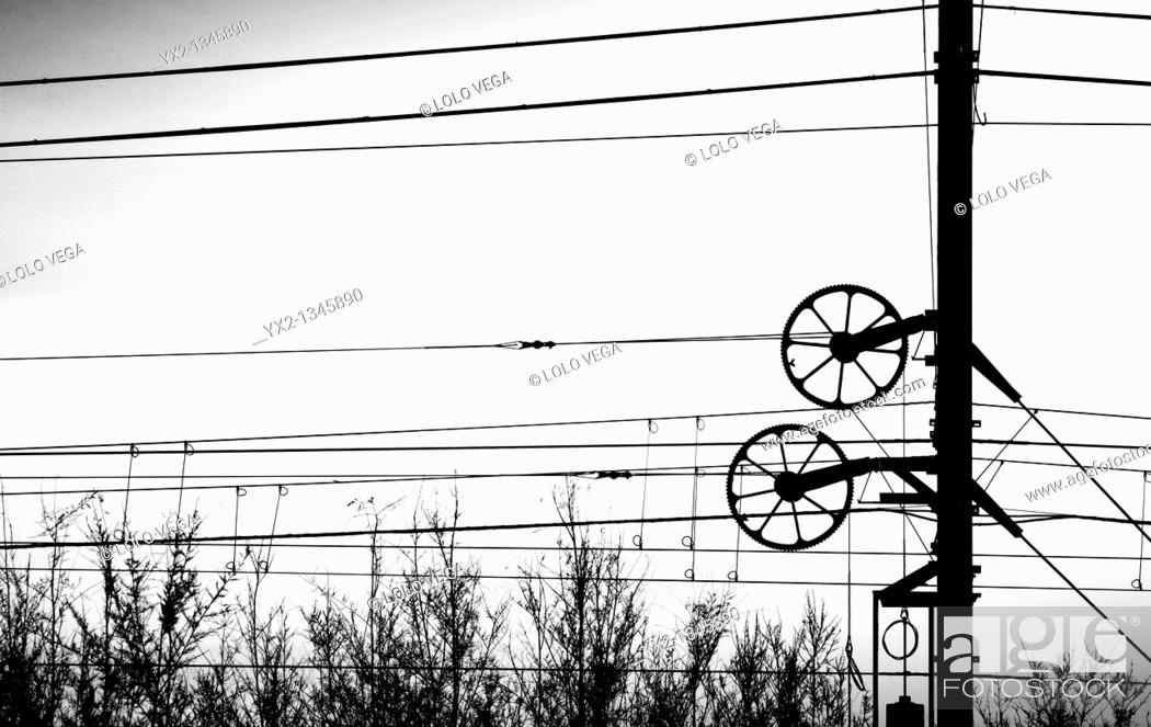 Stock Photo: railway electrical wiring.
