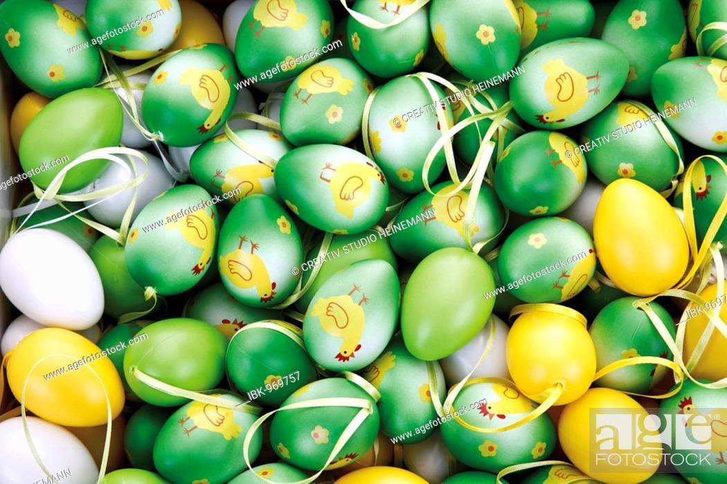 Stock Photo: Easter decoration, easter eggs, full frame.