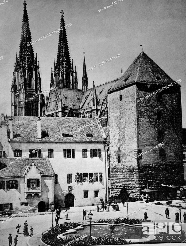 Stock Photo: Early autotype of regensburg, bavaria, unesco world heritage site, germany, historical picture, 1884.