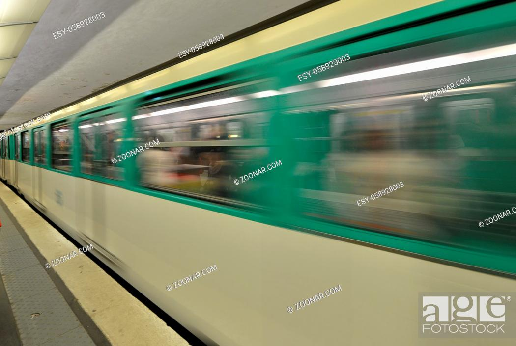 Stock Photo: Paris. Moving train on a subway station.