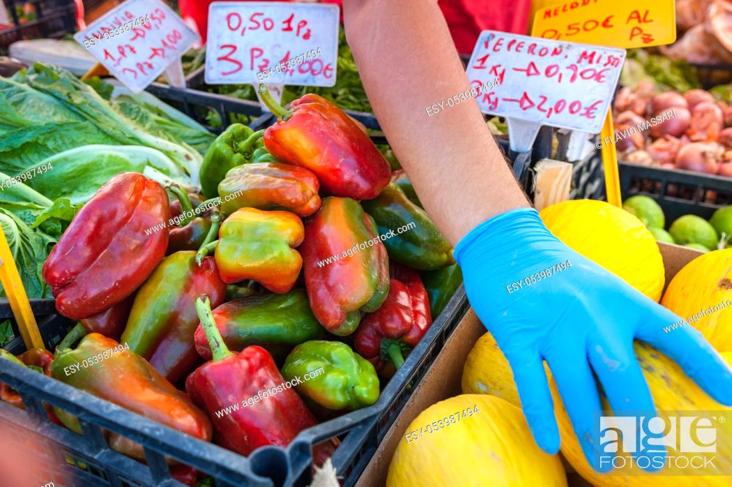 Stock Photo: Farmers Market fruits and vegetables exposition.