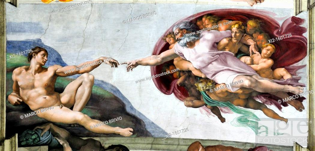 Stock Photo: Rome, Italy  Vatican Museums, Sistine Chapel  The Creation of Adam by Michelangelo.