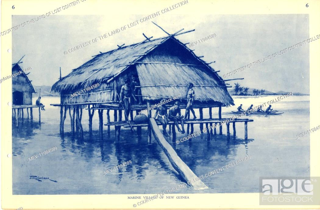 Stock Photo: Painting entitled Marine Village of New Guinea by Australian artist J Macfarlane. J. Macfarlane was a late colonial period painter.