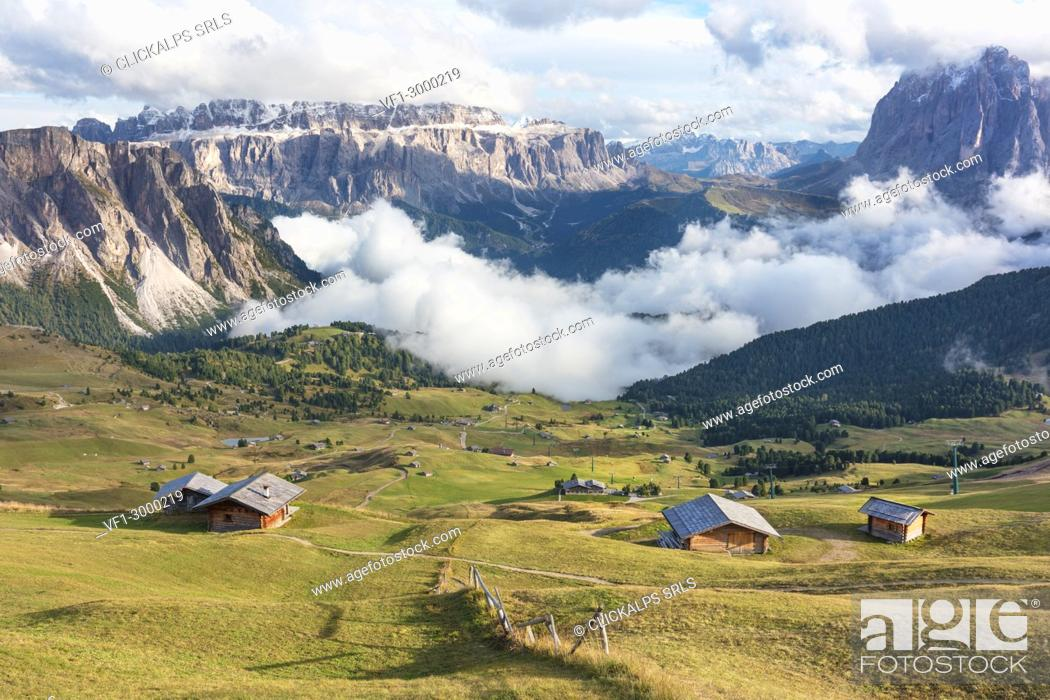 Stock Photo: Seceda in a cloudy day, Val Gardena Valley, Dolomites, Trentino Alto Adige District, Italy.