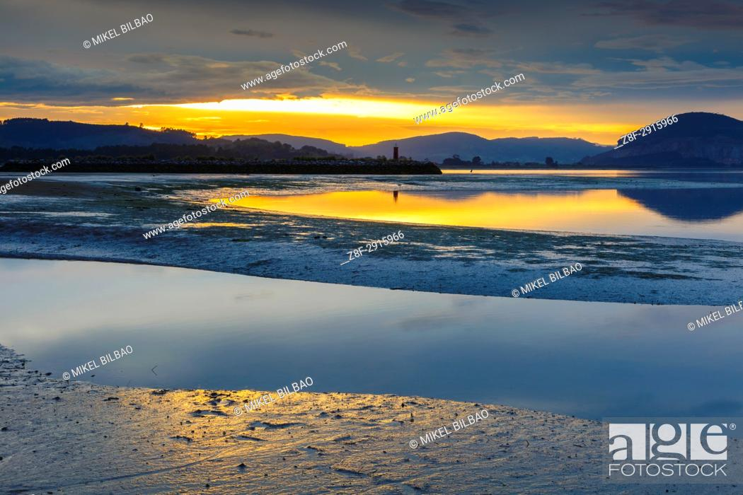 Stock Photo: Tidal beach at sunset. Santoña, Victoria and Joyel Marshes Natural Park. Colindres, Cantabria, Spain.