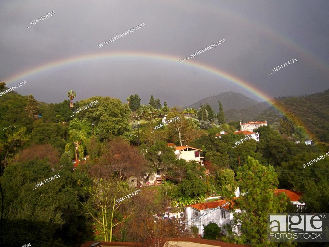 Stock Photo: Double rainbow. Los Angeles County, California. United States.