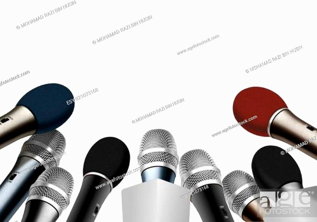 Imagen: Press conference microphones over white.