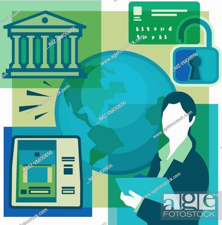 Stock Photo: A montage of a bank, a bank card, a lock, a woman holding documents, an ATM, and the globe.