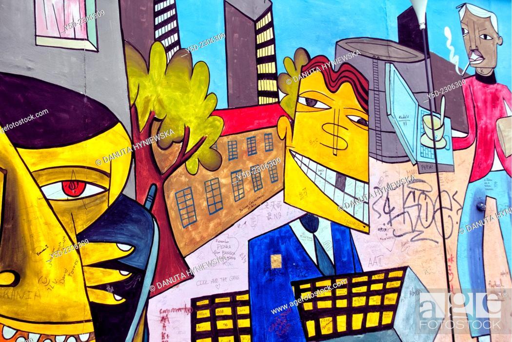 Berlin Wall graffiti art, Berlin, Germany, Europe, Stock Photo ...