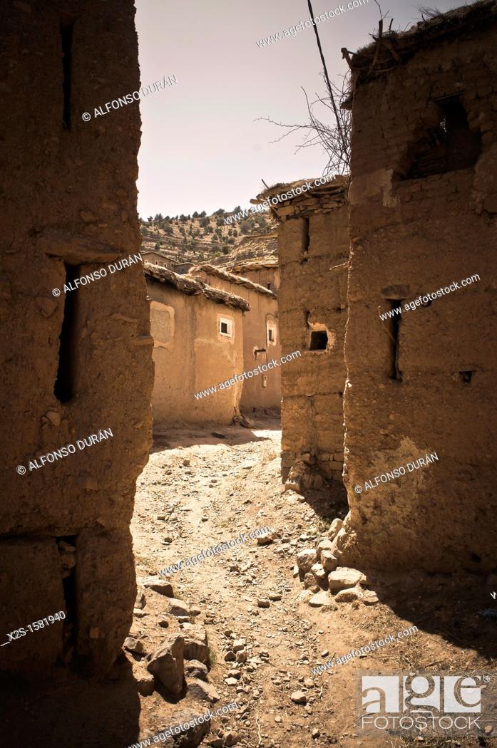 Stock Photo: Berber village of adobe houses in the High Atlas, Azilal, Morocco.