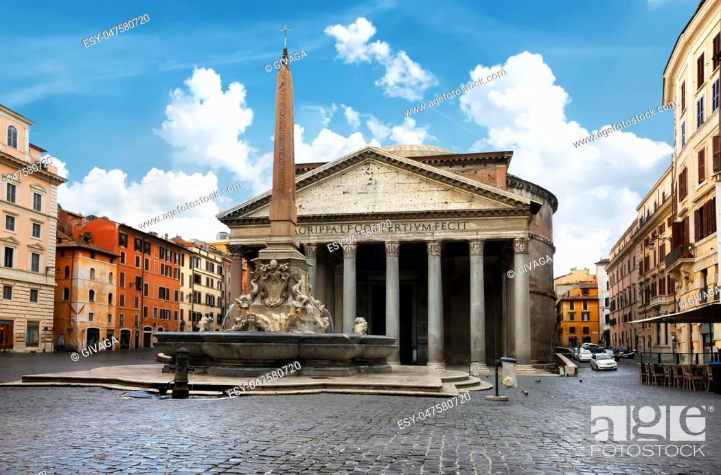 Stock Photo: Pantheon and fountain in Rome at day, Italy.