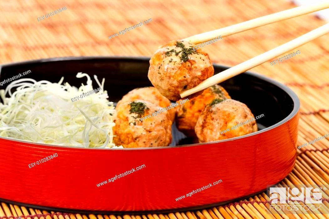 Stock Photo: Takoyaki : Meat balls as Japanese style.