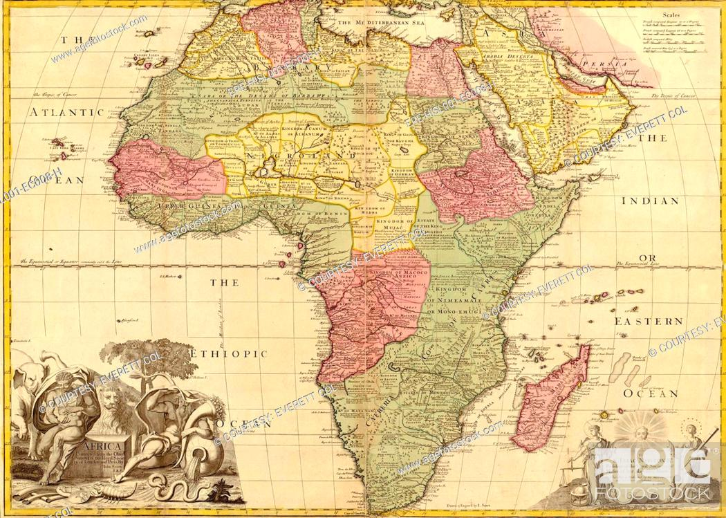 Sahara Desert Map Of Africa.1725 English Map Of Africa Identifying Kingdoms And Within The Large