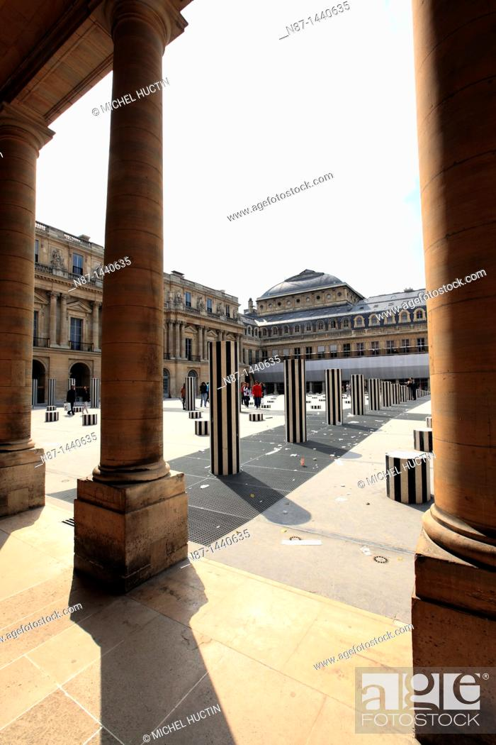 Stock Photo: Daniel Buren's columns, Court Palace-Royal in Paris.