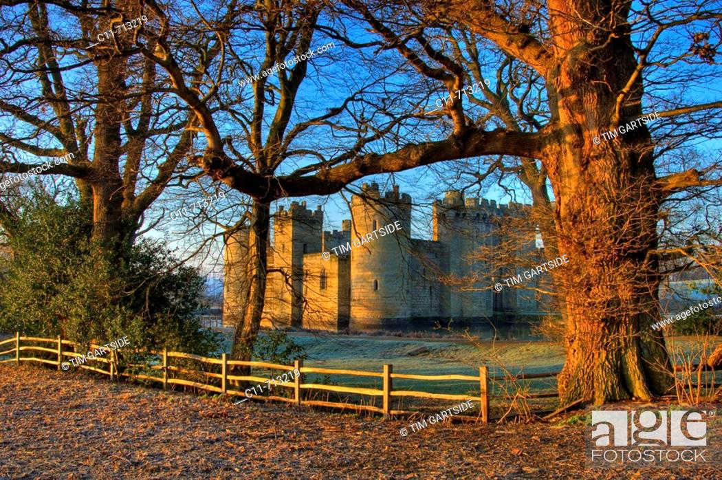 Stock Photo: bodiam castle at dawn on winter day east sussex kent border england uk europe.
