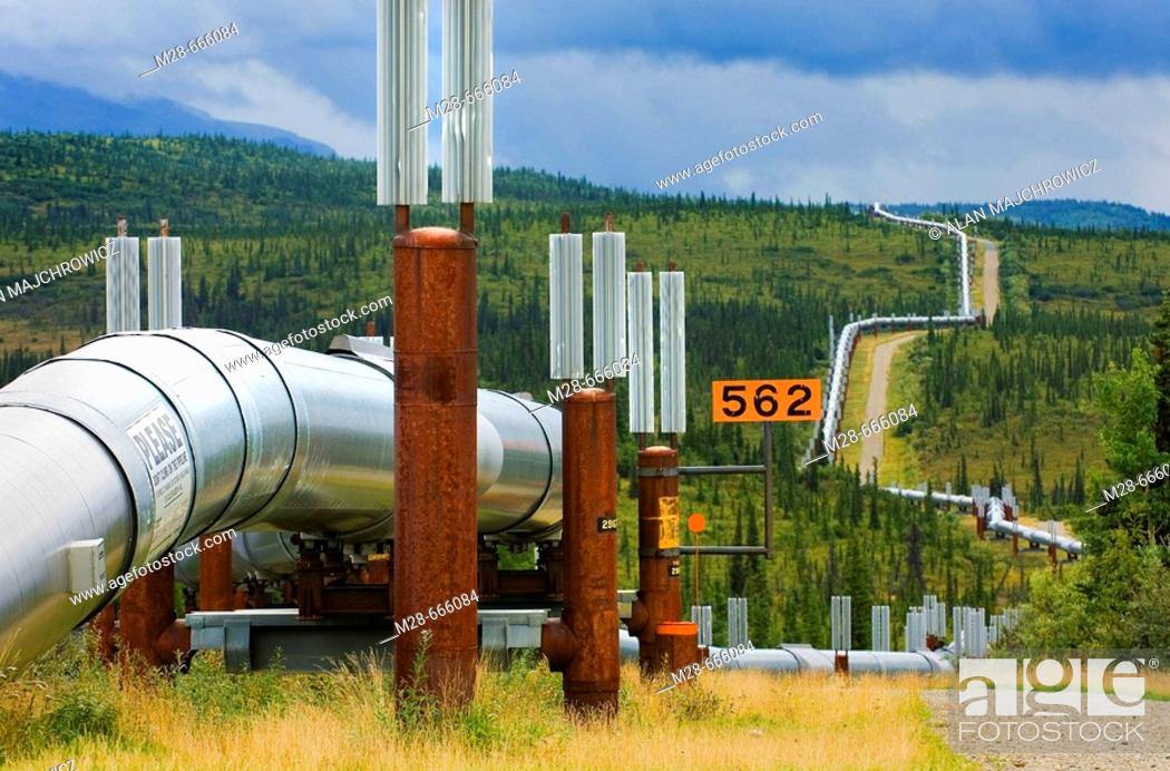 Photo de stock: Alaska oil pipeline running through the central Alaska Range, USA.