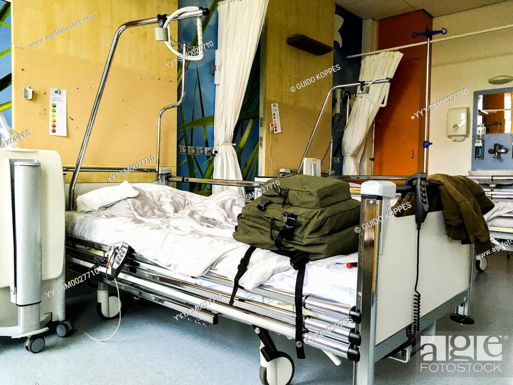 Stock Photo: Tilburg, Netherlands. Leaving a hospital ward and bedroom after a short stay.