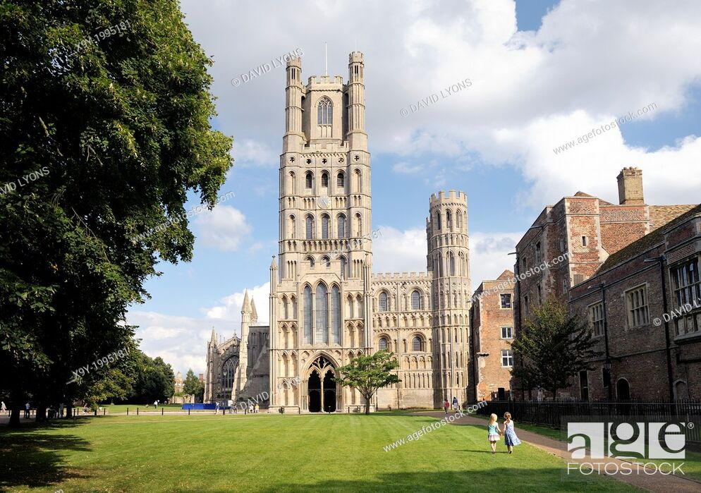Stock Photo: Ely Cathedral, Cambridgeshire, England. Over Palace Green to the West Tower and the West Door.