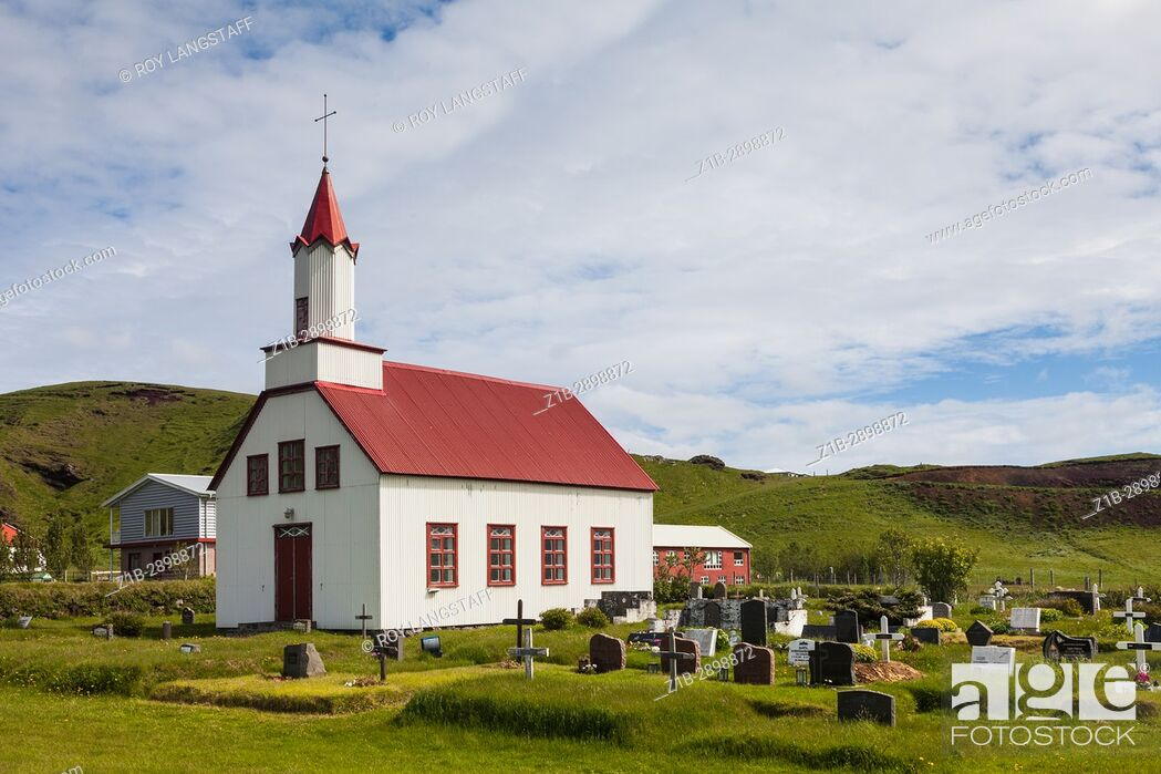 Stock Photo: Country church in the small community of Litlihvammur in Iceland.
