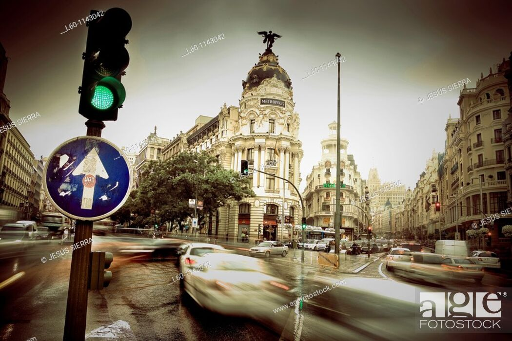 Stock Photo: Metropolis building and Grassy building, romantic view  Gran Vía street, Madrid, Spain.
