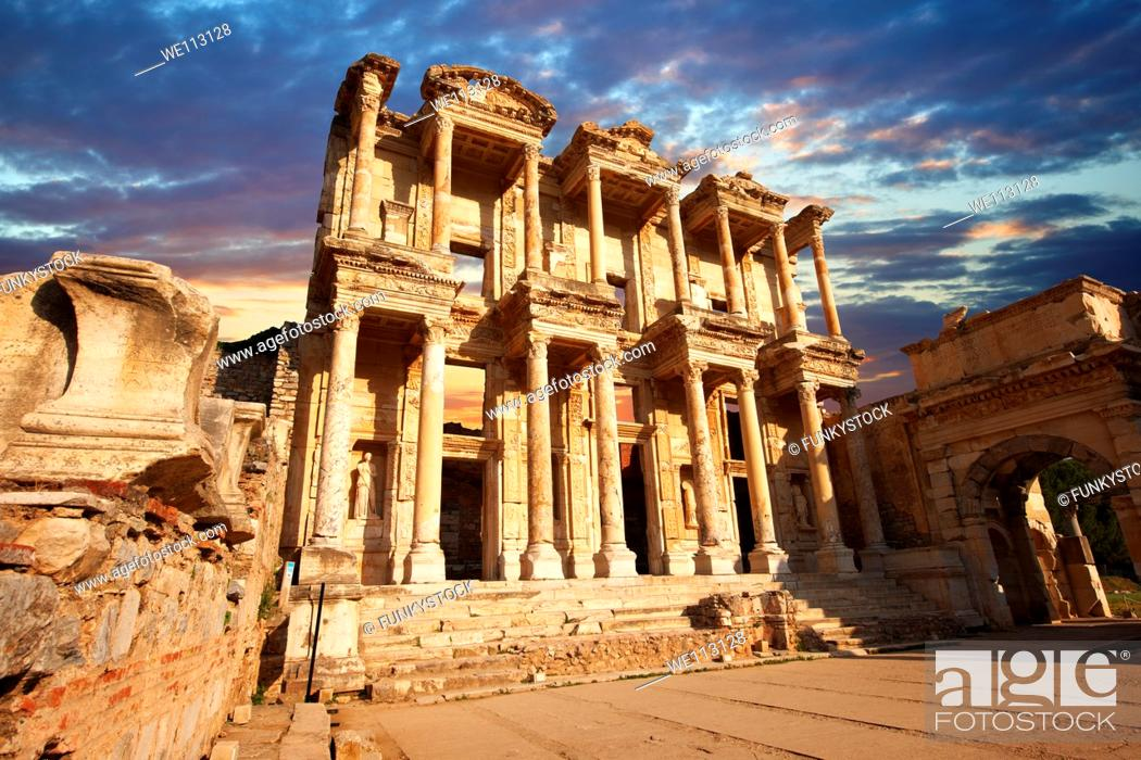 Stock Photo: The library of Celsus at sunrise Images of the Roman ruins of Ephasus, Turkey.