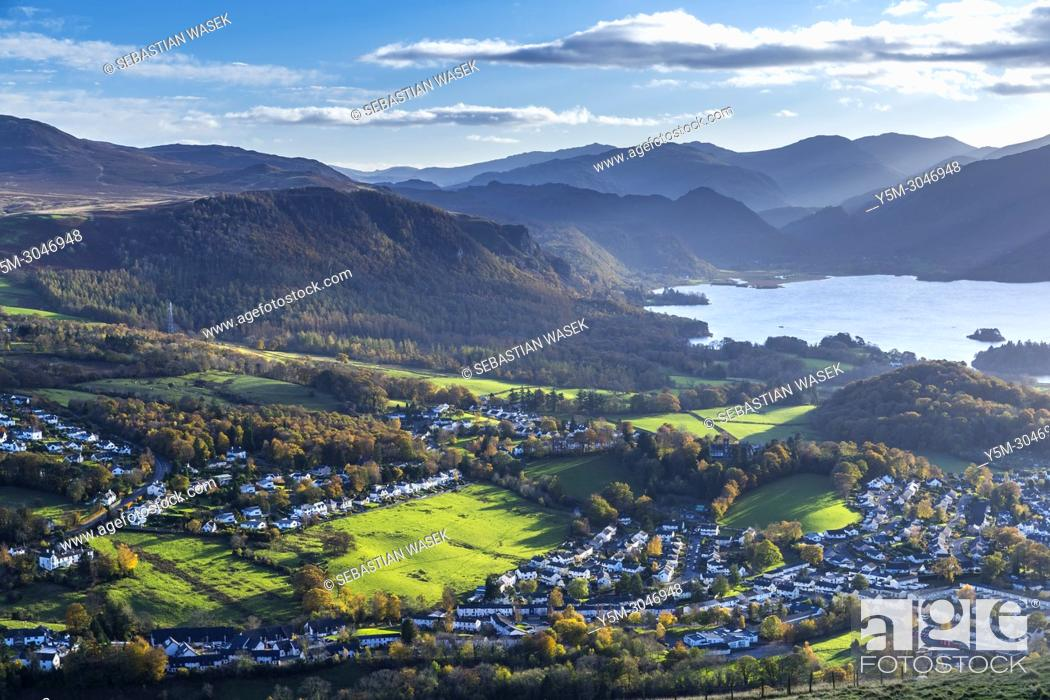 Stock Photo: Keswick and Derwentwater seen from Latrigg summit, Lake District National Park, Cumbria, England, United Kingdom, Europe.