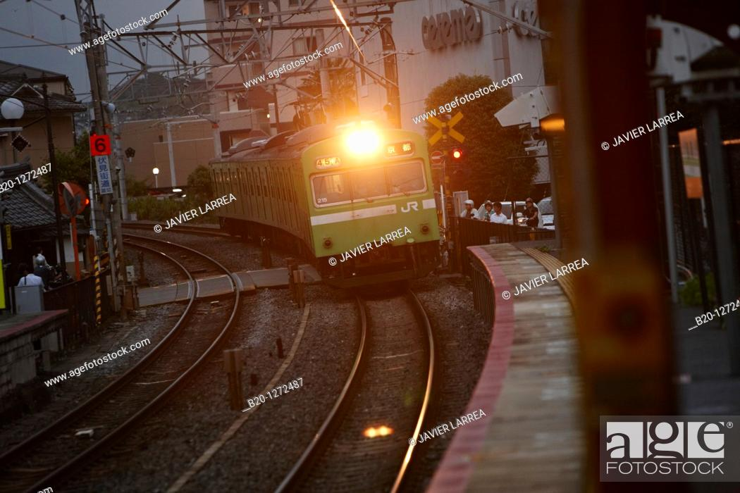 Stock Photo: Train, Fushimi Inari Station, Kyoto, Japan.