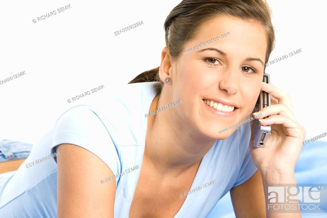 Stock Photo: portrait of telephoning woman.