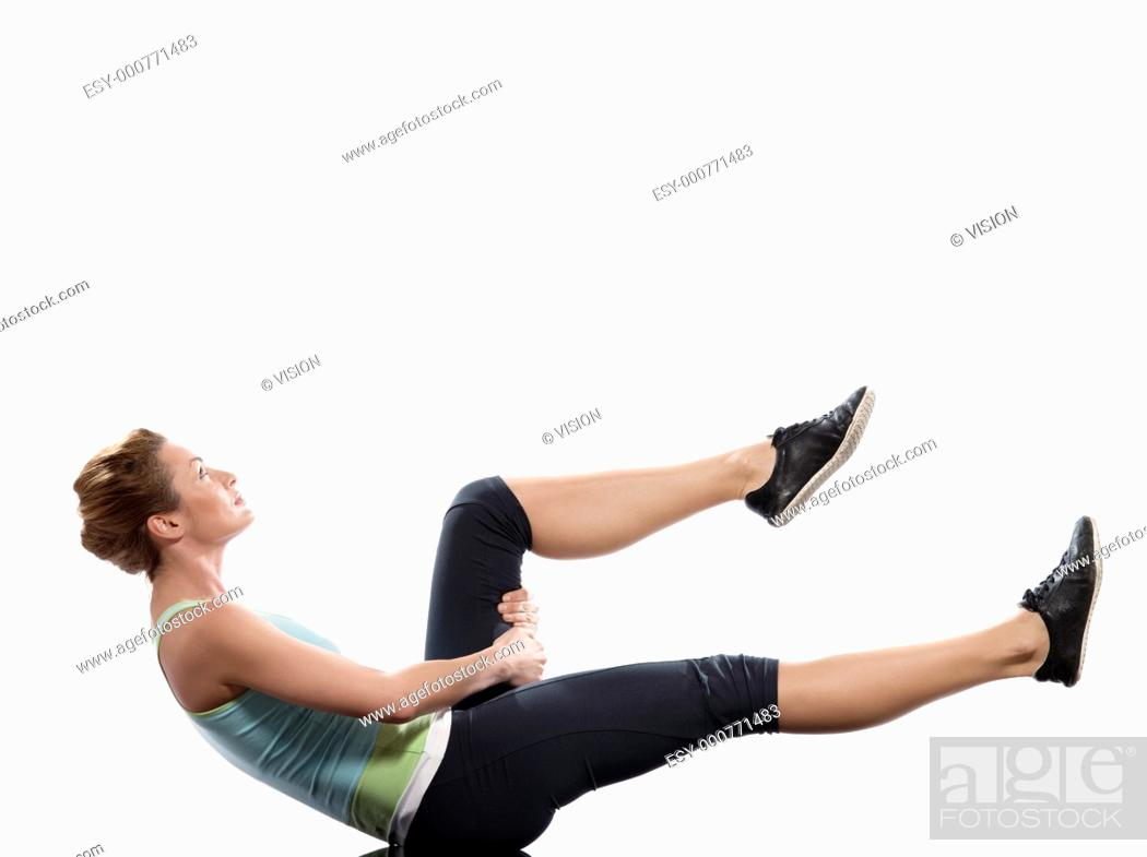 Stock Photo: woman on Abdominals workout posture on white background.
