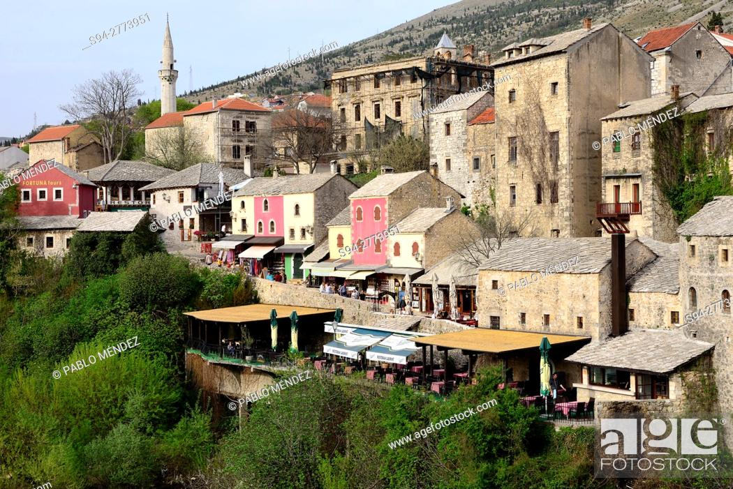 Stock Photo: View of Mostar from Old Bridge, Mostar, Bosnia and Herzegovina.