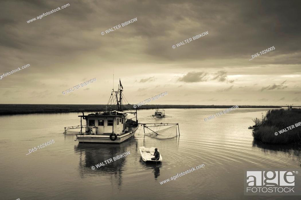 Stock Photo: USA, Louisiana, Dulac, bayou fishing boat by Lake Boudreaux.