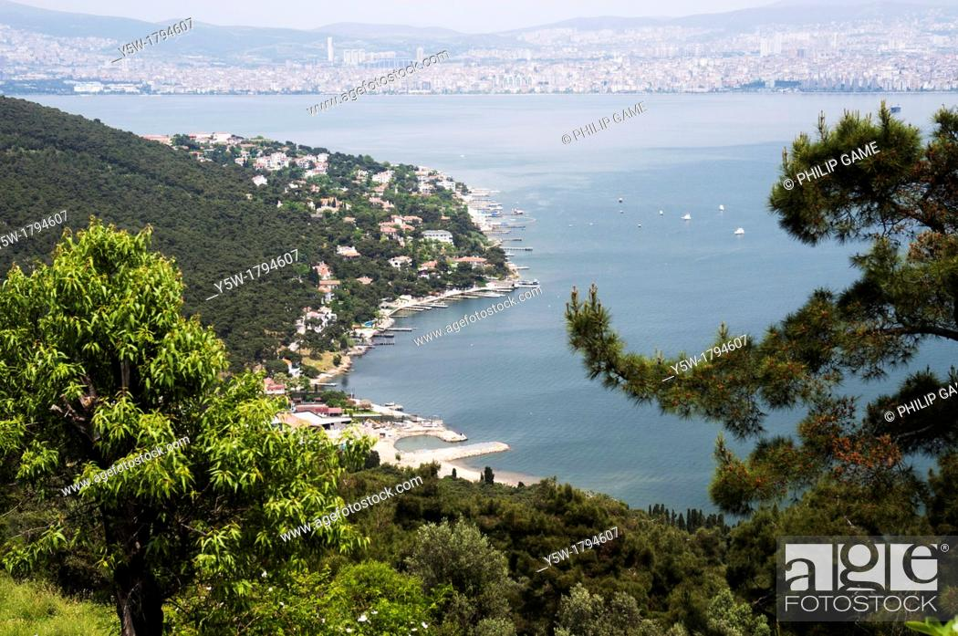 Stock Photo: Looking back towards Istanbul from a hilltop on Büyükada, one of the Princes Islands in the Sea of Marmara.