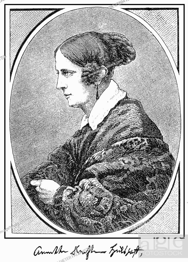 Stock Photo: Annette von Droste-Hulshoff, 1797 - 1848, a German writer and poet ,.