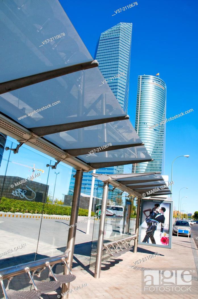Stock Photo: Bus stop next to Four Towers Business Area. Paseo de la Castellana, Madrid, Spain.