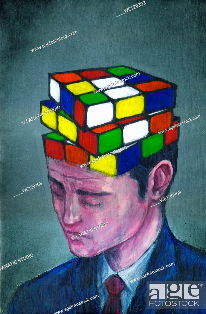 Stock Photo: Illustrative image of businessman with block puzzle on his head representing confusion.