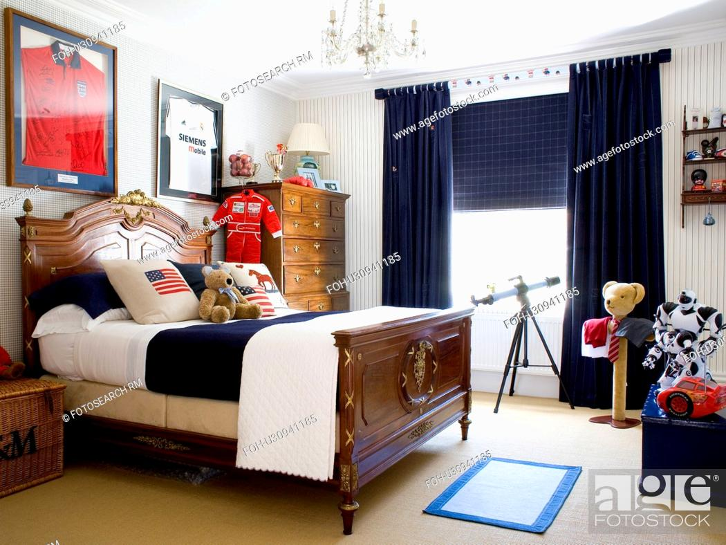 Antique Mahogany Bed In Child S Bedroom With Black Curtains Stock Photo Picture And Rights Managed Image Pic Foh U30941185 Agefotostock