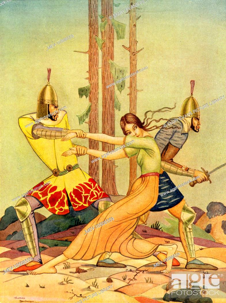 Stock Photo: An illustration to Hassan of Baghdad, by James Elroy Flecker, showing a woman being abducted by two soldiers.