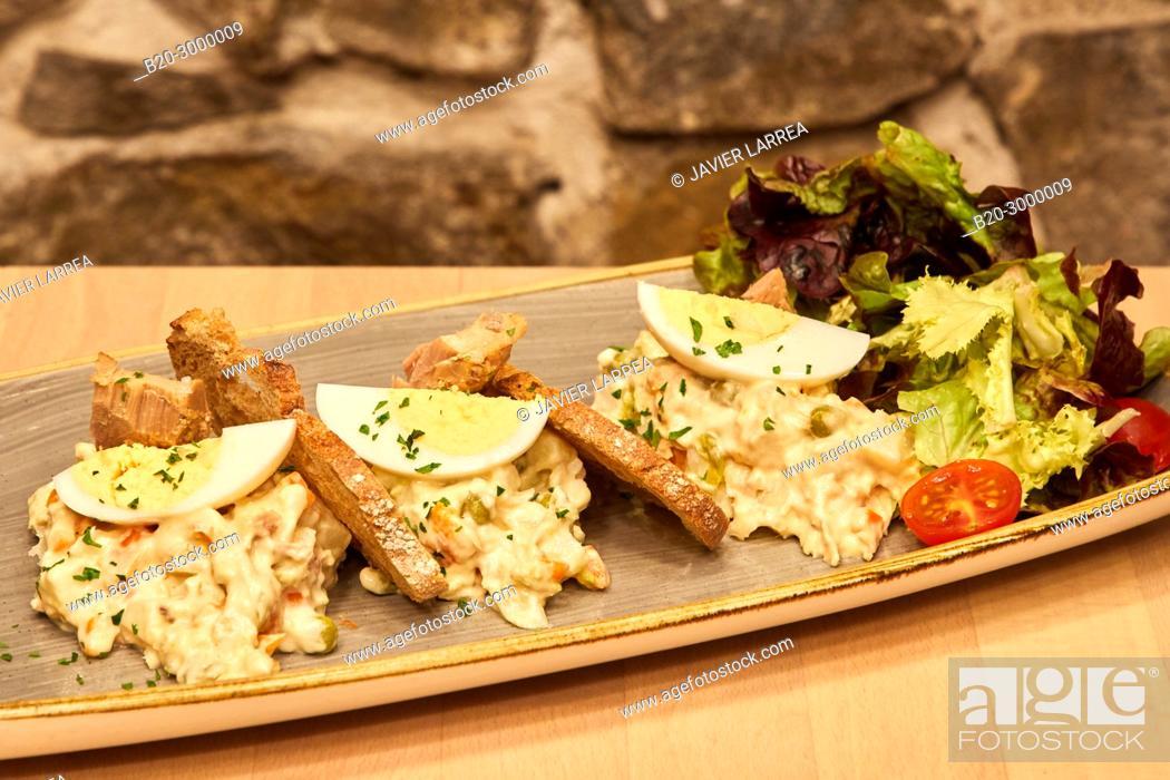 Stock Photo: Russian salad, Bar Restaurante Portaletas, Parte Vieja, Old Town, Donostia, San Sebastian, Gipuzkoa, Basque Country, Spain.
