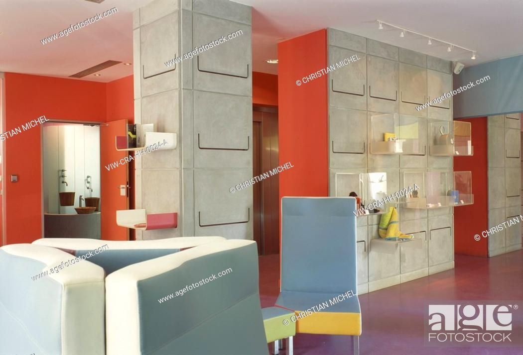 Stock Photo: HI HOTEL, 3 AVE DES FLEURS, NICE, FRANCE, MATALI CRASSET PRODUCTIONS, INTERIOR, LOBBY WITH WALL DETAIL.