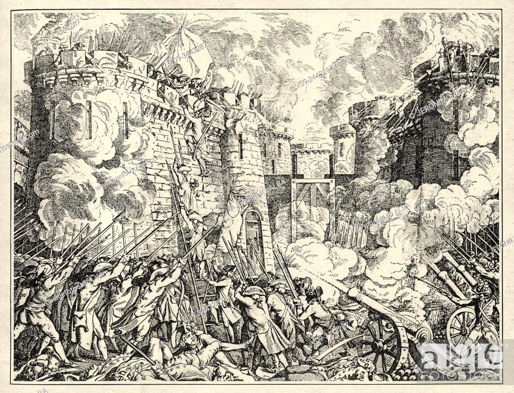 Stock Photo: Prison of the Bastille 14 July 1789 Paris, France. French Revolution 18th century. History of France, old engraved illustration image from the book Histoire.