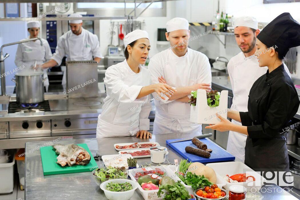 Stock Photo: Chefs, Cooks in cooking school, Cuisine School, Donostia, San Sebastian, Gipuzkoa, Basque Country, Spain, Europe.