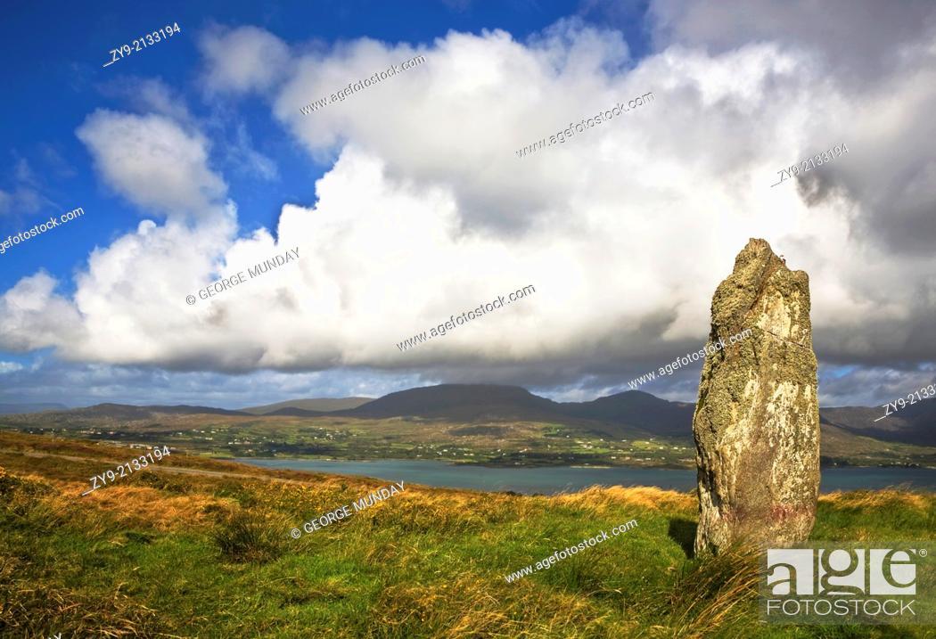 Stock Photo: Standing Stone on Bear Island, Beara Peninsula, County Cork, Ireland.