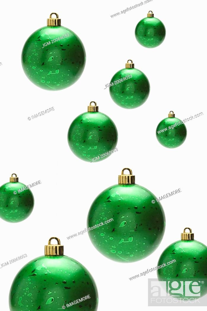 Stock Photo: Green Christmas baubles.