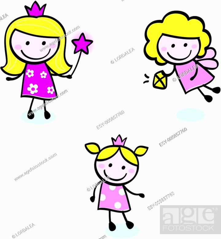 Stock Vector: Cute doodle Princess & Fairy stitch figures set isolated on white.